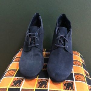 Navy Blue Suede Lace Up Booties Size 6